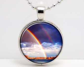 Double Rainbow  Art  Glass Pendant or Key Chain- 30 mm round- Chain Included- Made to Order