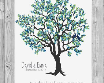Wedding Tree Art Print, And they lived happily ever after, Wedding Tree Print Gift, Anniversary Art Print Gift 110A