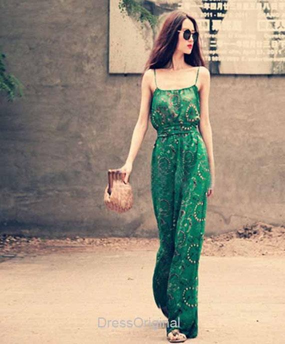 Jade green jumpsuit wide leg long jumpsuits dress Green dress maxi dress Sundress Plus Size Summer Dress Holiday Beach Dress