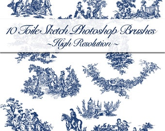 10 Brushes Toile De Jouy Sketches. ABR Plus JPG Sketches 1000 Pixel Resolution.