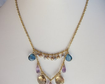 Ametrine Pendant, Champagne Citrine, London Blue Topaz, Pearl Handmade Necklace with 14K Gold Filled Chain