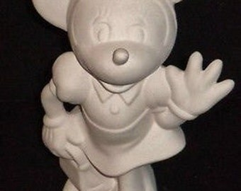 """Minnie Mouse Disney figurine ceramic bisque ready to paint 9"""""""