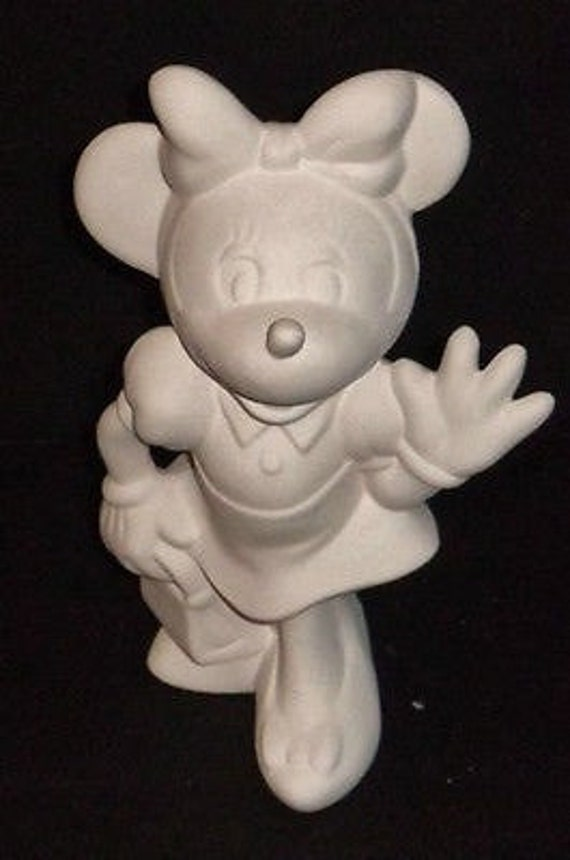 Minnie Mouse Disney Figurine Ceramic Bisque Ready To Paint