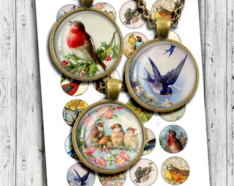 "Digital Collage Sheet ""Vintage Birds"" 1.5 inch, 1 inch 25mm Circle images for Bottle caps, Pendants Vintage Birds Postcards"