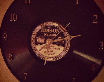 Recycled and Repurposed Vintage Edison Diamond Disc Clock