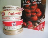 8 Round French Containers  / DIY Supply / French Farmhouse / Fromage francais / Instant Souvenir