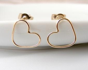 Heart Stud Earrings - 9ct gold earrings - yellow gold earrings - classic heart studs - delicate earrings -simple gold studs -bridal earrings