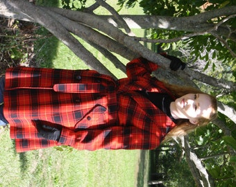 Beautiful Pendleton Red Plaid Wool Long Coat
