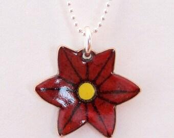Crimson Flower Pendant - made to order