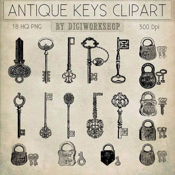 Antique Keys Clip Art Antique Keys Clipart clip by ...