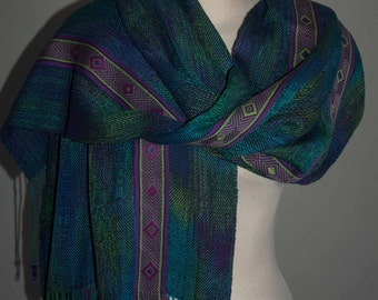 Handwoven shawl with two tablet woven bands