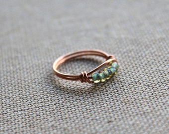 Mint green copper ring ( delicate ring spring jewelry green stacking ring dainty jewellery beaded ring mint green ring