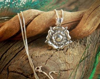 Tudor Rose ~ Sterling Silver Pendant