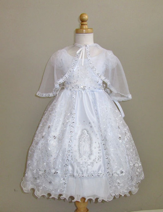Baptism dress with mary embroidery embroidered dress white for Making baptism dress from wedding gown