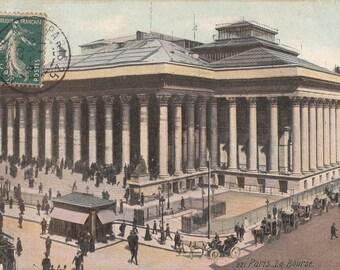 """Paris"""" Place de la Bourse"""" vintage  Postcard. . France . Paris city postcard."""