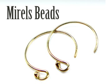 14k Gold Filled Earring Hooks, Small Round Ear Wires, 4pcs