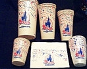 Vintage Walt Disney World Celebrating 15 Years in 1986 -  Paper Cups and Napkins