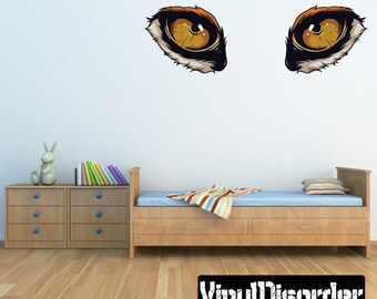 Predator Eyes Wall Decal - Wall Fabric - Vinyl Decal - Removable and Reusable - PredatorEyesUScolor003ET