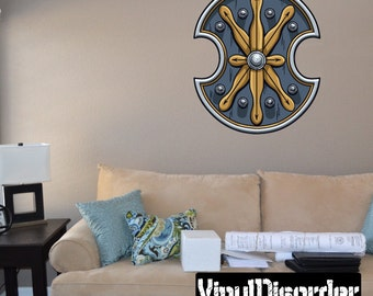 Sheild Wall Decal - Wall Fabric - Vinyl Decal - Removable and Reusable - ShieldUScolor012ET