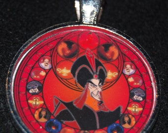 Jafar Aladdin Round Stained Glass Style Silver Disney Pendant Necklace Jewelry