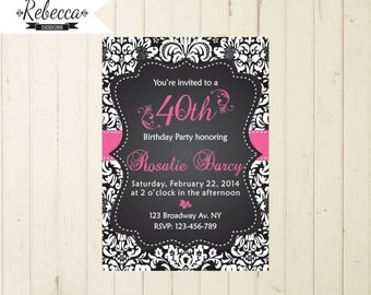 surprise party invite 30 birthday party 30 surprise party black and pink black damask 21 birthday 40 birthday 50 birthday 60 birthday