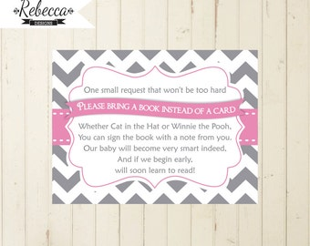 Baby Shower Bring A Book Card Printable Chevron Bring A Book Instead Of A  Card Gray