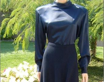 80s Designer Ellen Tracy Midnight Blue colored Silk High Collar Back Button Blouse Size 12