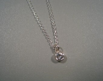14kt White Gold Diamond Drop and Chain