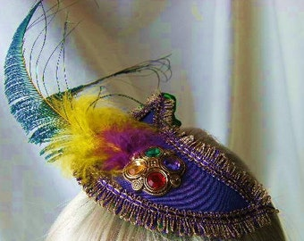 Mardi Gras Fascinator in Purple, Green, Yellow with Purple/Gold Braid and Feather trim