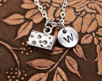 Cheese Necklace, Initial Necklace Personalized Necklace, Engraved Necklace, Custom Necklace, Food Necklace, Hand Stamped, Charm Necklace