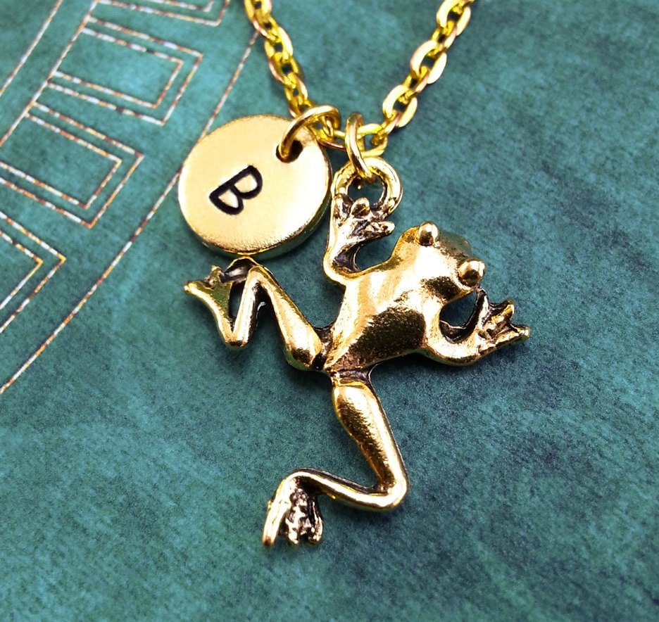 frog necklace gold frog charm personalized necklace pendant