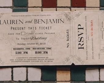Wedding Invitations  Train Ticket