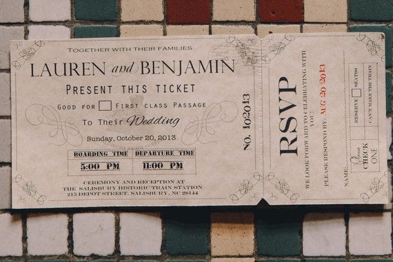 Wedding Invitation Tickets: Wedding Invitations Train Ticket