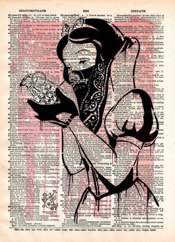 Blanche-neige avec grenade, art de la rue GOIN graffiti, art de page livre imprimé vintage dictionnaire