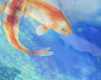 Koi fish painting etsy for Blue and orange koi fish