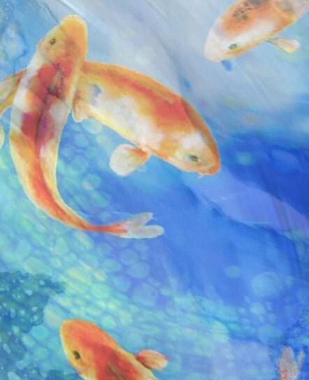 Swimming Koi Fish Painting Koi Fish Art Print Original Art