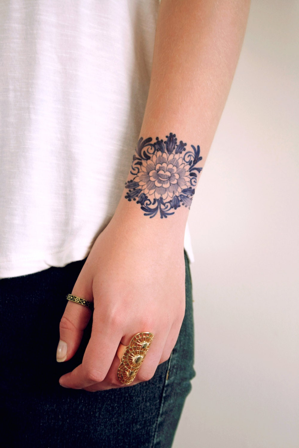 Delft blue temporary tattoo floral temporary by tattoorary for Floral temporary tattoos