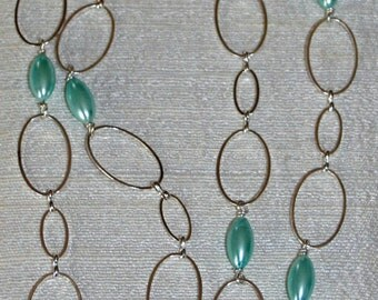 Silver-Plated Chain with Mint Faux Pearls
