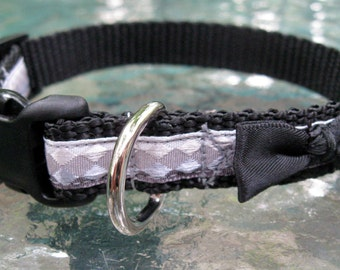 Bow Dog Collar, Black, Grey, Extra Small Dog Collar, dog collar for boy, male dog collar, toy dog collar, XS Dog Collar, cute boy dog collar