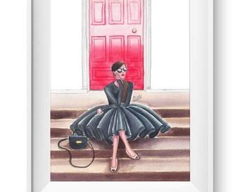 Fashion illustration print, Fashion art, girl art, girls room art, watercolor, vanity art - The Red Door