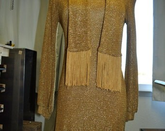 Gold Lurex Mini-Dress with scarf. Size S