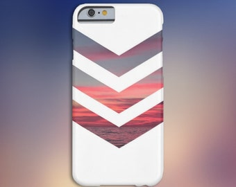 White Chevron Pink Sunset Case, iPhone 7, iPhone 7 Plus, Protective iPhone Case, Galaxy s8, Samsung Galaxy Case, Note 5, CASE ESCAPE