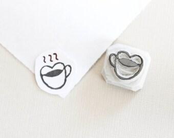 Coffee Cup Rubber Stamp. Coffee Mug. Heart Coffee Cup. Coffee Stamp. Heart Shaped Mug. Tea Cup Stamp. Handmade Rubber Stamp.