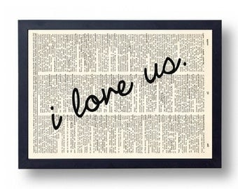 I love US sign Dictionary Art Print, Love Quote Wall Art, Typography Wall Decor, Wedding Anniversary Gift, Poster, Sign