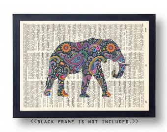 Paisley Elephant Dictionary art print, 8x10 Wall Art Print, Living room wall decor, poster decal, dictionary page print