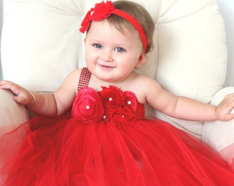 Dress for baby girl first birthday first christmas 9 18 months on etsy