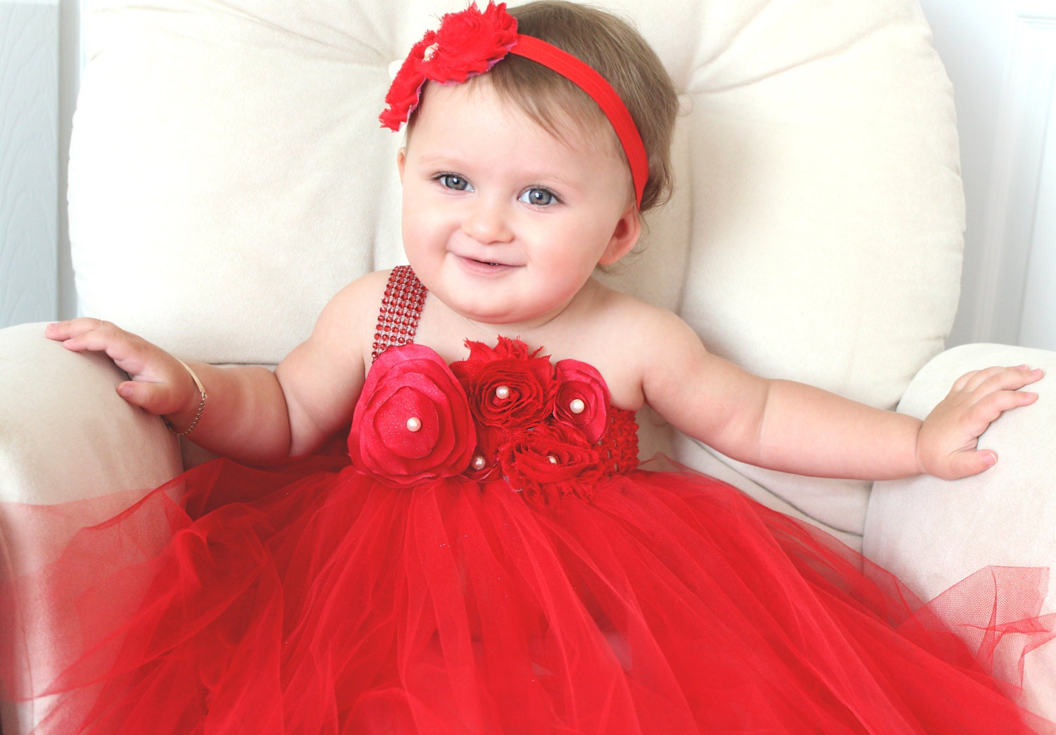 beautiful red satin shabby chic flower tutu dress for baby. Black Bedroom Furniture Sets. Home Design Ideas