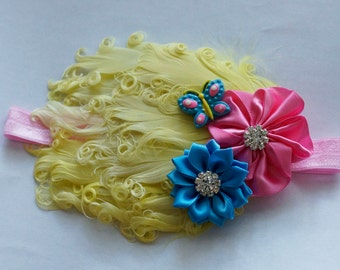 Yellow Pink and Blue Butterfly Feather Pad Headband