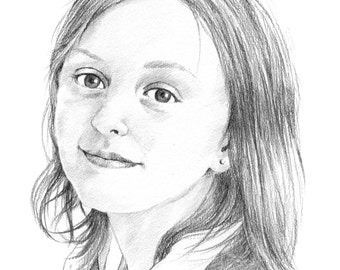 Custom children's portrait. Pencil portrait drawing from photo. Personalised gift.