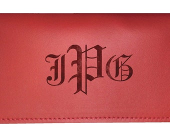 Personalized Leather Checkbook Cover - Holds standard checks (Top Tear)